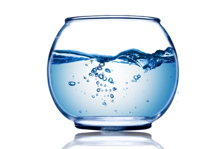 bowl water: Water wave and water bubble inside the fish bowl