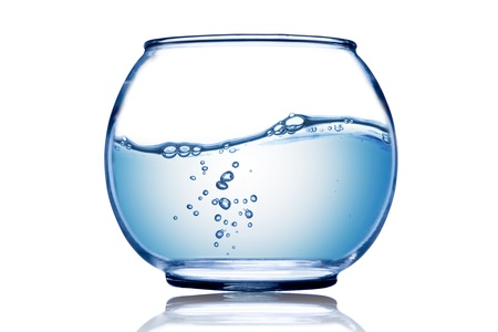Water wave and water bubble inside the fish bowl Stock Photo - 15830426