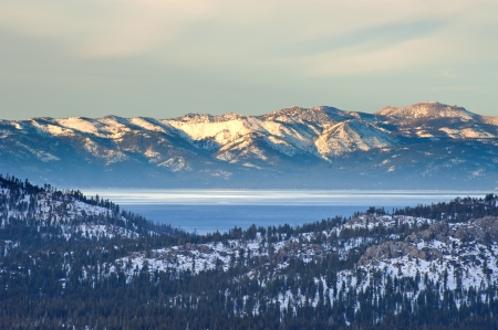 nevada: Snow on mountain at Lake Tahoe in Winter