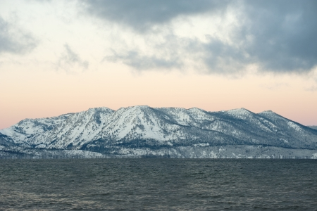 Snow on mountain at Lake Tahoe in Winter photo