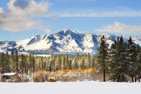 Snow and mountain at winter time Stock Photo - 16665150