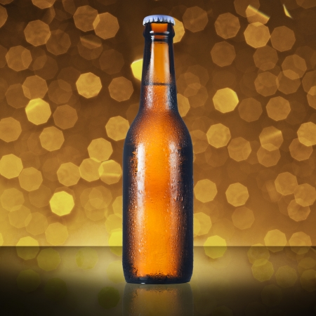 Bottle of beer with beautiful bokeh background photo