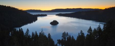 south lake tahoe: Panorama Emerald Bay after sunset, South Lake Tahoe, California, USA  Stock Photo
