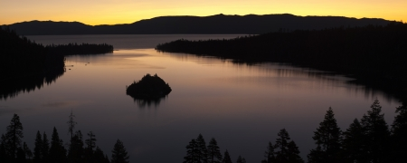Panorama Emerald Bay after sunset, South Lake Tahoe, California, USA  photo
