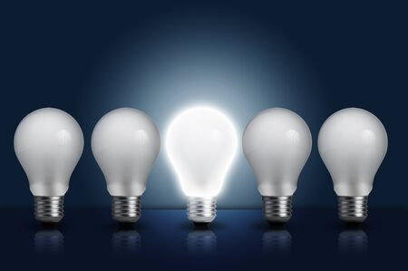 incandescent: Incandescent light bulb in a row  Concept for energy conservation