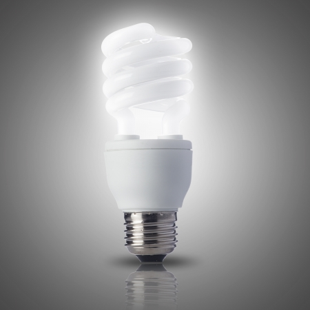 Light bulb turn on white background photo