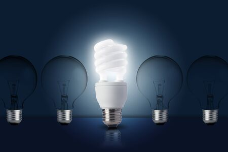 glowing light bulb: One Light bulb turn on  Concept for outstanding key person or creative idea Stock Photo