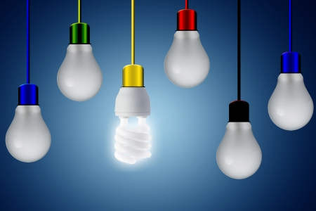 color image creativity: Light bulb with various wire colors hanging from roof