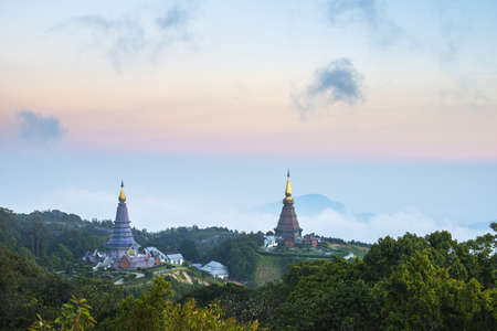 Doi Inthanon, Thailand  Temple on top of a tallest mountain in the Thailand  photo