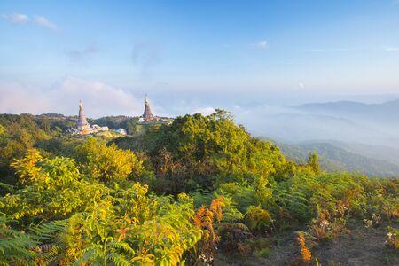 Thai Temple on North part of Thailand, Doi Inthanon Stock Photo - 17106706