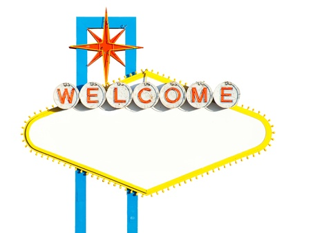Blank Welcome to Las Vegas Sign on white photo