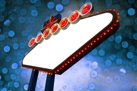 Blank Welcome to Las Vegas Sign on blue bokeh light background photo