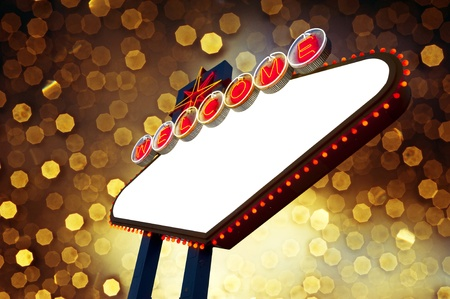 Blank Welcome to Las Vegas Sign on yellow bokeh light background photo