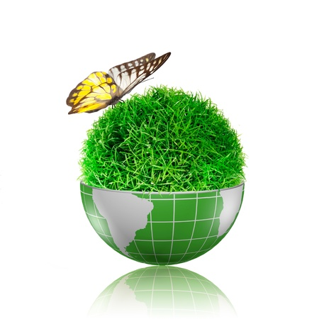 Butterfly flying to the ball of grass inside the globe with plant growing Stock Photo - 17205901