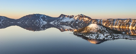 Panorama Shot of Crater lake photo
