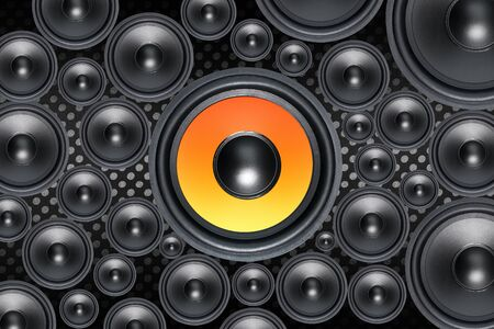 Mutiple Loud Speakers woofer on abstract background photo