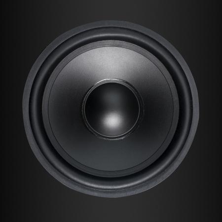 Loud Speakers woofer on black background photo