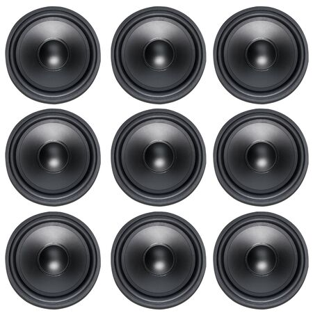 Loud Speakers woofer on white background photo