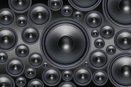 woofer: Mutiple Loud Speakers woofer on black background Stock Photo