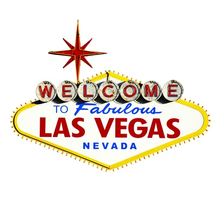 welcome sign: Las Vegas Sign on White