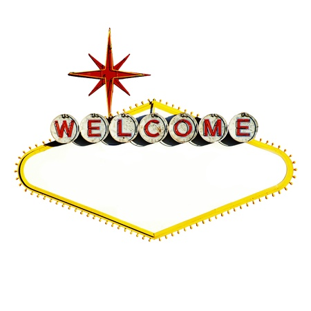 welcome party: Empty Las Vegas Sign on White