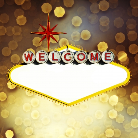 welcome party: Empty Las Vegas Sign on Bokeh background Stock Photo