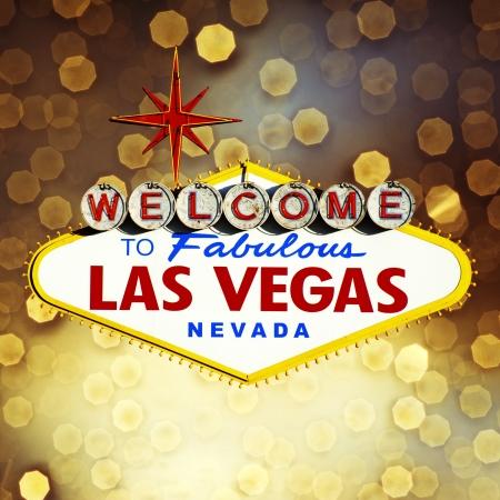 welcome party: Muestra de Las Vegas en el fondo bokeh Foto de archivo