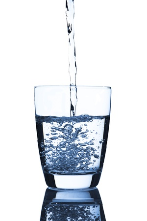 pour water: Water pour into glass Stock Photo
