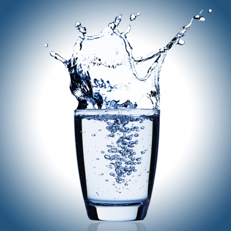 purification: Water splash from glass