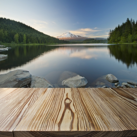 Wood floor with Trilium Lake and Mt Hood view in the background Stock Photo - 18378471