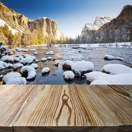 yosemite national park: Wood floor with Yosemite view in the background