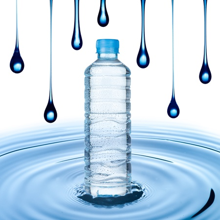 welling: Water bottle on water ripple with water drop