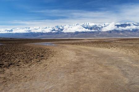 desert sunset: Bad Water, Death Valley Stock Photo