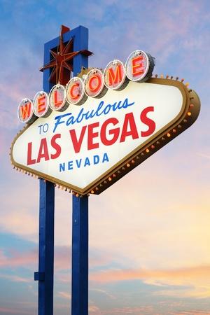 las vegas lights: Las Vegas Sign on sunset background