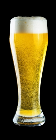 beer barrel: Glass of cold beer on black Stock Photo