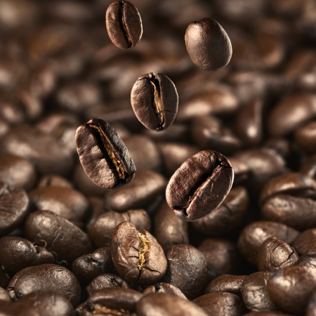 granos de cafe: Grano de caf� cayendo