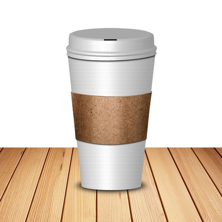 take away: Hot coffee in take away cup on wood