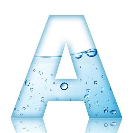 agua liquida carta: Agua y letra del alfabeto burbuja de agua con la reflexi�n Letra A Foto de archivo