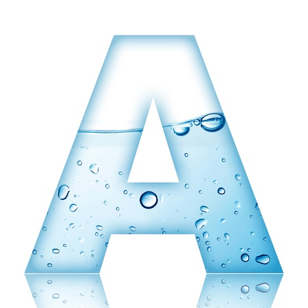 Water and water bubble alphabet letter with reflection  Letter A