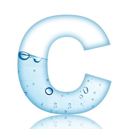 Water and water bubble alphabet letter with reflection  Letter C photo