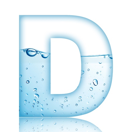 Water and water bubble alphabet letter with reflection  Letter D