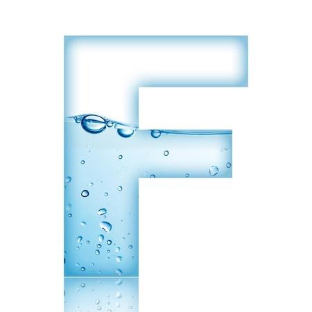agua liquida carta: Letra del alfabeto de burbuja de agua y el agua con la reflexi�n de la letra F
