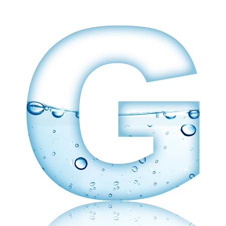 Water and water bubble alphabet letter with reflection  Letter G photo