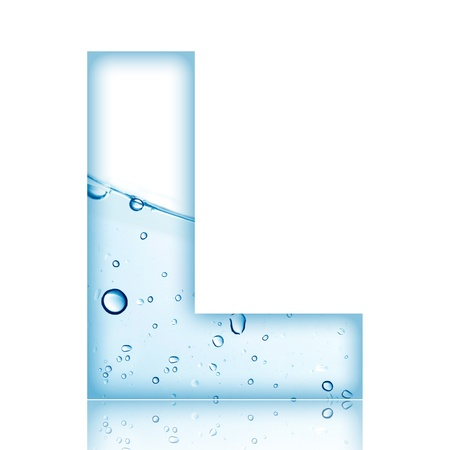 alphabet letter a: Water and water bubble alphabet letter with reflection  Letter L Stock Photo