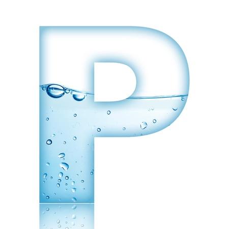 Water en water bubble letter van het alfabet met reflectie Letter P