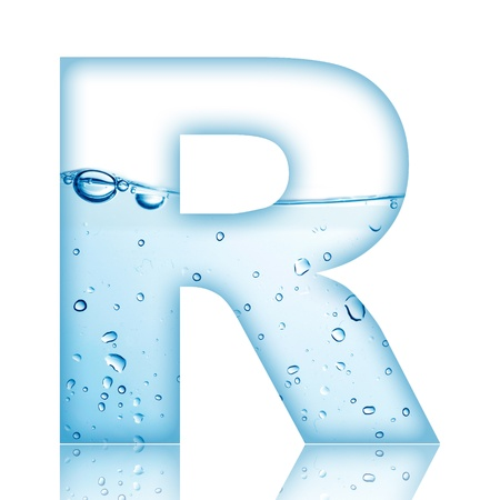 R: Water and water bubble alphabet letter with reflection  Letter R Stock Photo