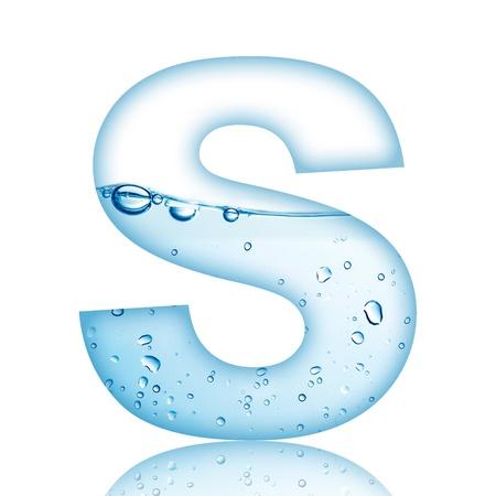 alphabet s: Agua y letra del alfabeto burbuja de agua con la reflexi�n de la letra S