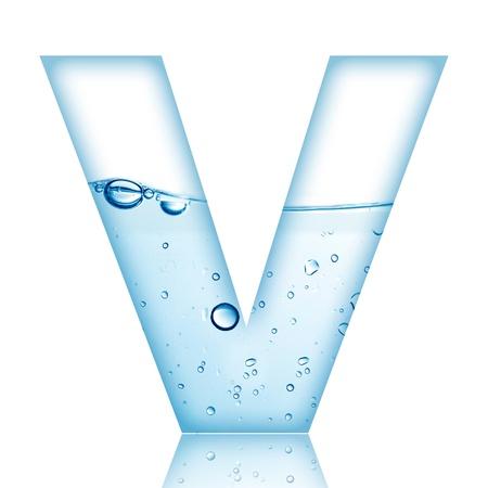 반사 편지 V와 물과 거품 알파벳 문자 스톡 사진