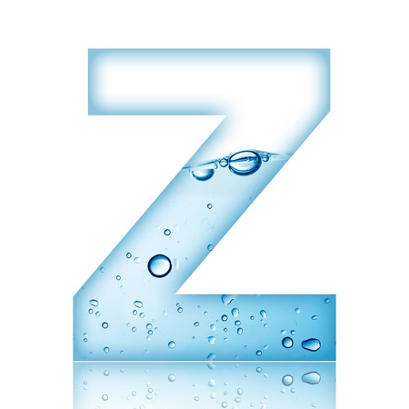 Water and water bubble alphabet letter with reflection  Letter Z photo