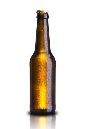 dewed: Cold Bottle of beer on white background